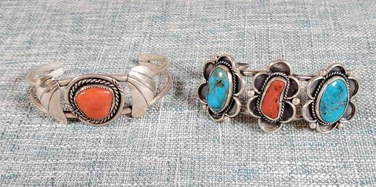 2 Navajo Cuff Turquoise & Coral Sterling Silver Cuff Bracelets