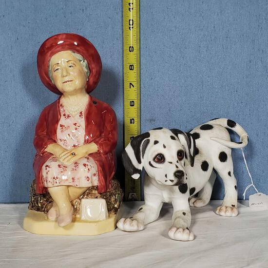"""9"""" Porcelain Queen Mother Toby Jug and 5"""" Tall Dalmation Figurine"""
