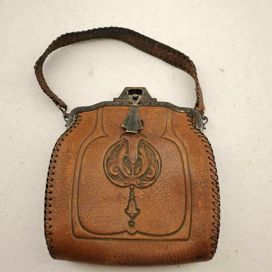 Arts & Crafts, Art Nouveau Gemco Leather Purse