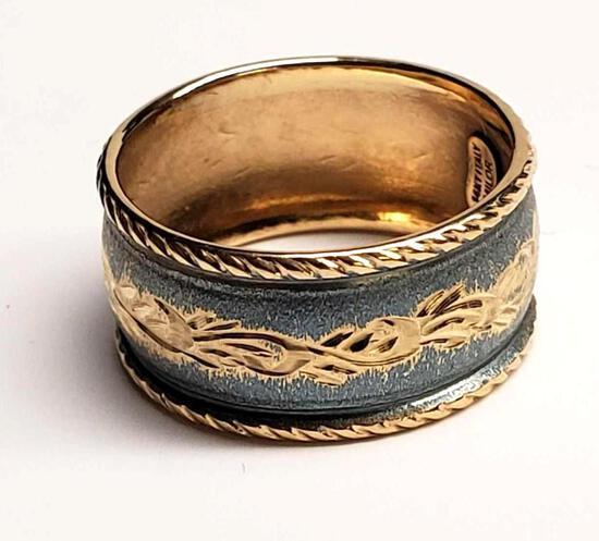 14K Yellow Gold Milor Blue Enamel Ring