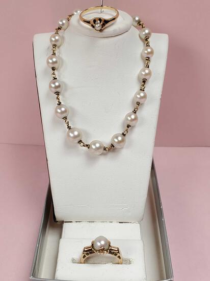 Vintage 14k Gold Pearl Bracelet & 2 Rings