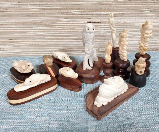 12 Antler Artisan Hand Carved Small Animals Mounted on Wood Bases
