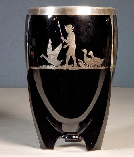 Art Deco Duncan and Miller Black Glass Rocket Vase with Geese Herder Boy Sterling Decoration