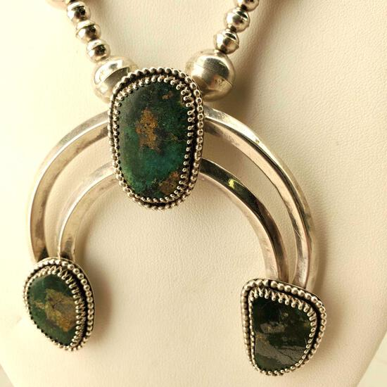 Natural High Grade Royston Turquoise Sterling Silver Naja Necklace Unsigned Vintage Pawn