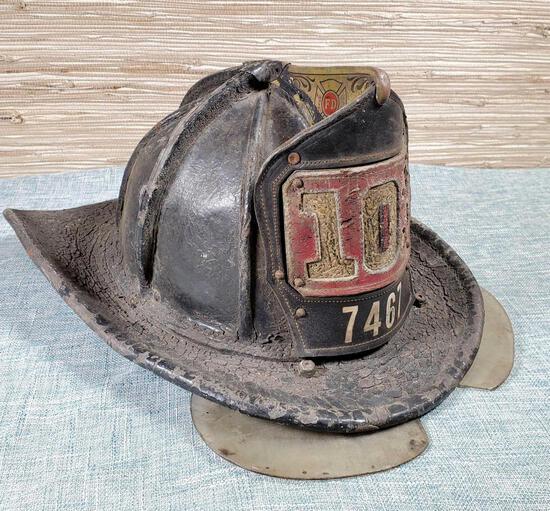 Vintage Authentic Leather Firemens Helmet
