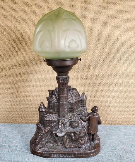 "Vintage Spelter TV Lamp ""Serenade"" With Green Satin Glass Art Deco Globe"