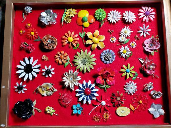 Approx. 40 Vintage Enameled Flower Pins