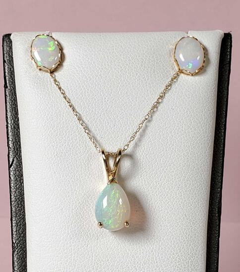 Opal Necklace and Stud Earring Set in 14k Gold