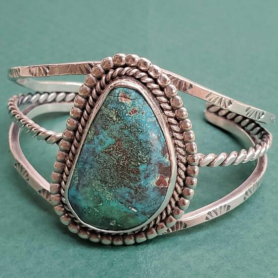 Vintage Pawn Sterling Silver & Turquoise Un-Signed Navajo Native American Cuff Bracelet