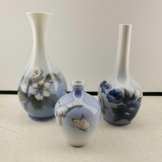 Lot Of 3 Royal Copenhagen Denmark Vases
