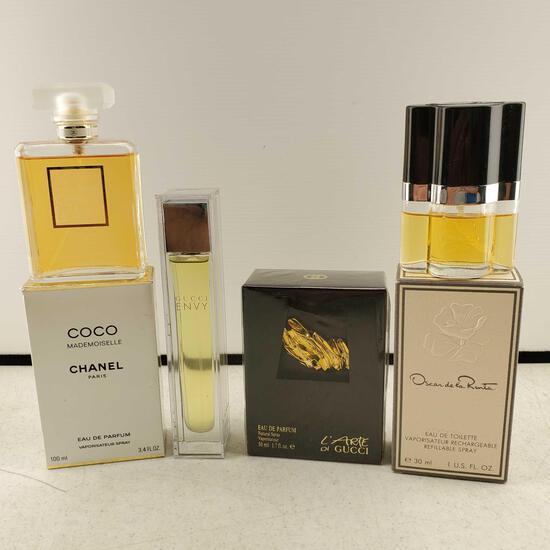 Lot Of 4 Perfumes Eau de Toilettes Gucci, Chanel, & Oscar de la Renta