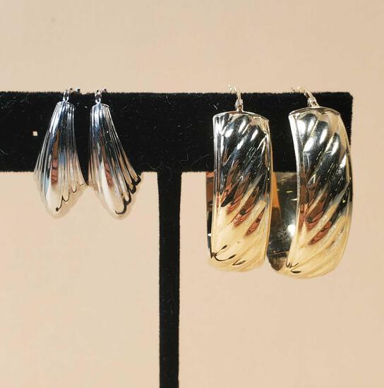 2 Pair of 14k Gold Hoop Earrings