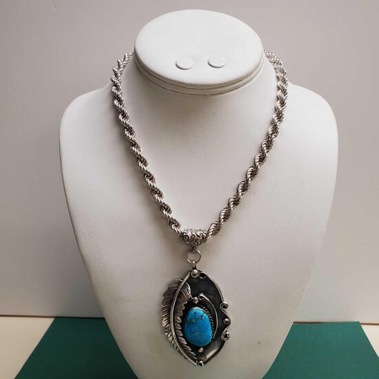 Vintage Pawn Sterling Silver & Turquoise Un-Signed Native American Pendent On Heavy Rope Chain
