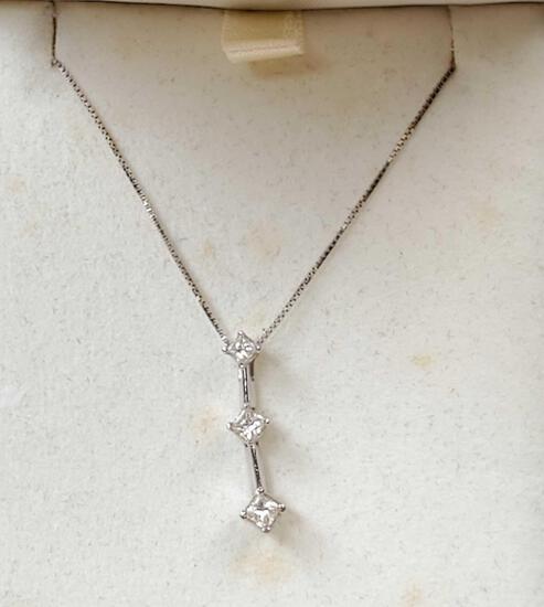 White 14k Gold Diamond Pendant Necklace