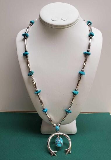 Vintage Pawn Sterling Silver & Turquoise Bead with Naja Signed Native American Necklace