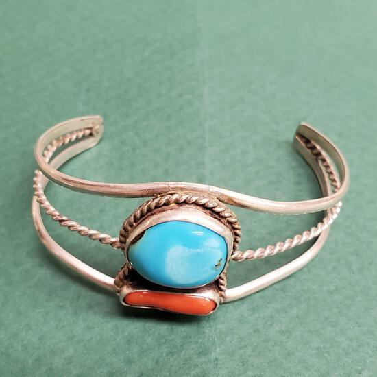 Vintage Pawn Sterling Silver Red Coral & Turquoise Signed Monogram Native American Cuff Bracelet
