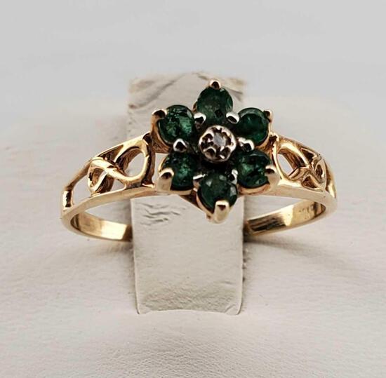 10K Yellow Gold, Diamond & Emerald Flower Ring