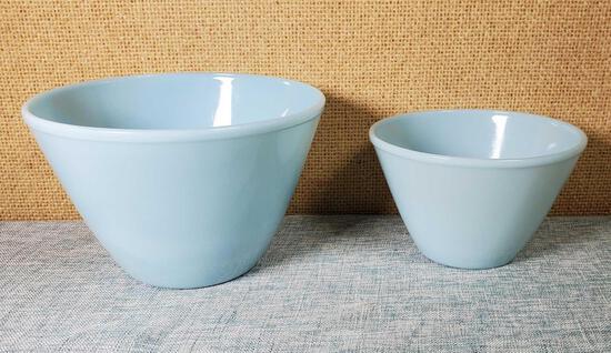 2 Fire King Turquoise Delphite Glass Bowls