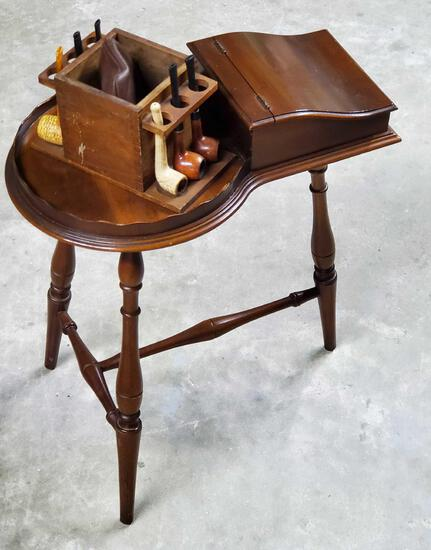 Mahogany Smoke stand with Pipes and Pipe Rack