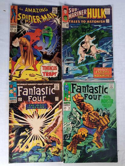 4 Silver Age12 Cent Marvel Comic Books - The Fantastic Four, Spider-Man The Sub-Mariner & The Hulk