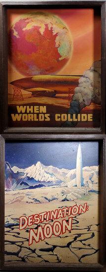 """2 Framed Sci Fi Original  Art """"Destination Moon"""" & """"When Worlds Collide"""" Paintings"""