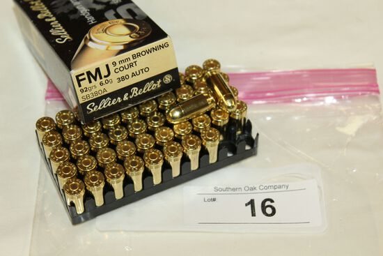 50 Rounds of Sellier & Bellot .380 ACP 92 Gr. FMJ Ammo