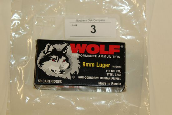 50 Rounds of Wolf 9mm 115 Gr. FMJ Ammo
