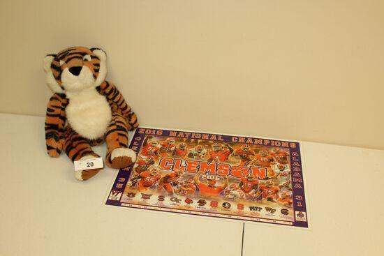 Clemson Tiger Place Mat and Stuffed Tiger