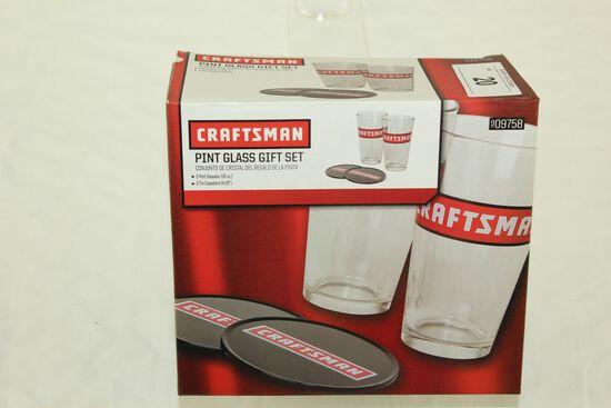 Craftsman Pint Glass Gift Set.  New!