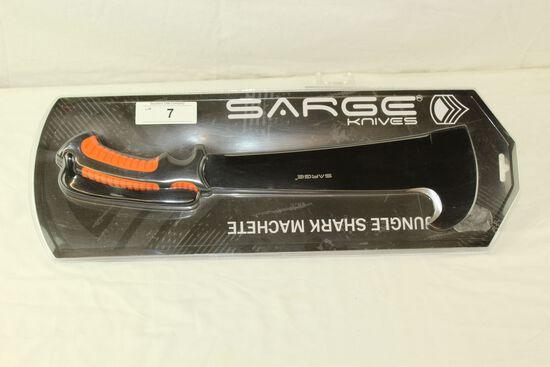 Sarge Knives Jungle Shark Machete w/Nylon Sheath - New!