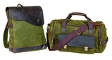 2 Piece Canvas and Leather Bag Set