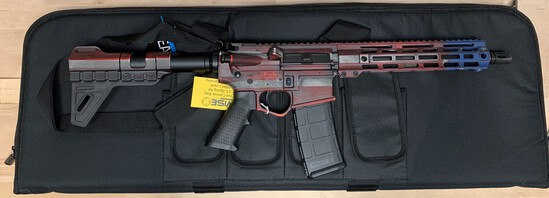 "WISE ARMS 10.5"" BILLET 300 BLACKOUT W/ 10"" RAIL- Red/White/Blue"