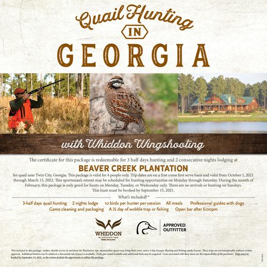 Georgia Quial Hunt for 4 at Beaver Creek Plantation