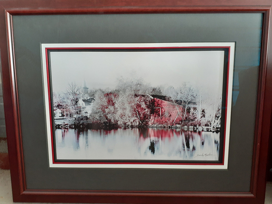 Sandy Martin Red Barn Reflections Print - Framed