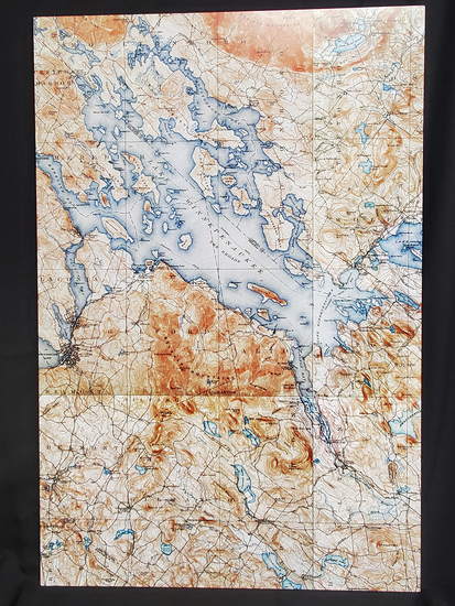 Historic Winnipesaukee Map on Aluminum