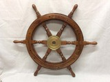 Wood Ships Wheel with brass hub