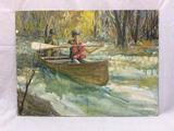 Oil on board of Boys Paddling a Canoe