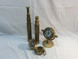 2 Draw Brass Telescope, Ships Wheel Clock and Compass