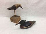 Group of 2 carved decoys
