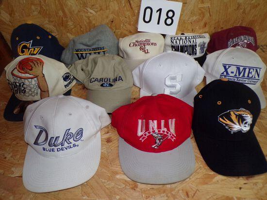 12 NCAA college hats