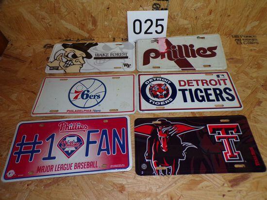 6 Sport team license plates