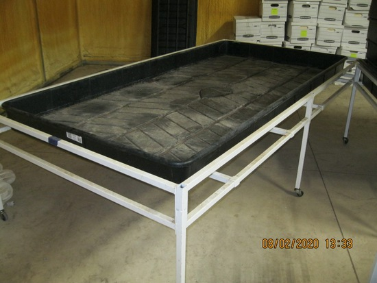 Bontanicare 4'X8' Plastic Grow Tray with Rolling Support Cart with 6 Legs