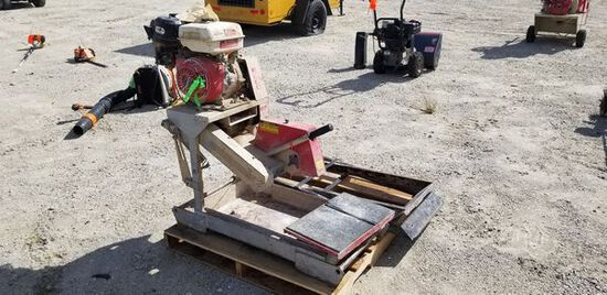 """Edco 14"""" Table Saw M#: GMS14 / S#: 18857 / Year: 2001 / Engine: 9 HP Honda / Hours: N/A / Missing: B"""