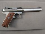 handgun: RUGER MARK II TARGET, 22CAL SEMI AUTO PISTOL, S#218-13781