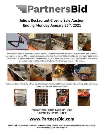 Restaurant Close Out Auction