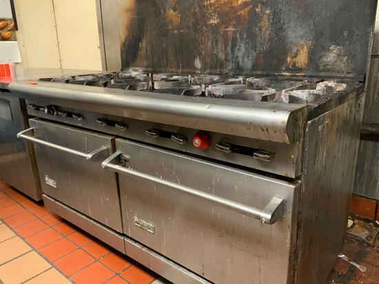 American Gas Range - 10 top burner gas grill with double oven