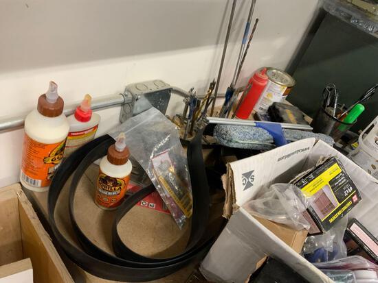 Misc. screws, wood drill bits, glue, glue guns