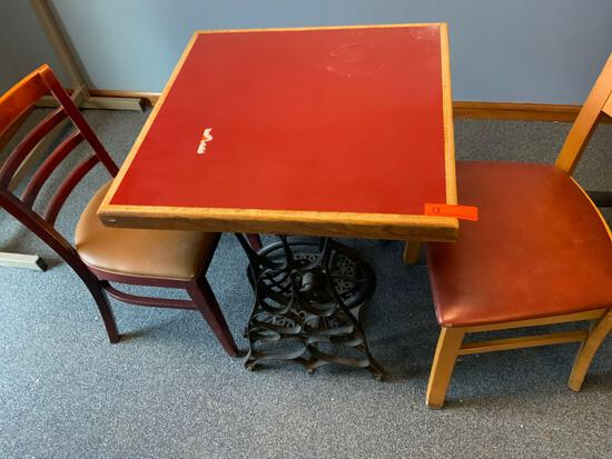 Restaurant Table with antique sewing stand from Julio's restaurant with 2 chairs