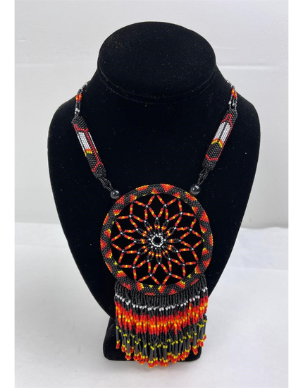 Beaded Montana Indian Dreamcatcher Necklace