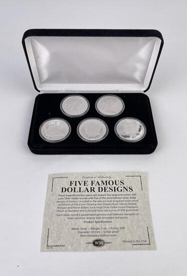Five Famous Dollar Designs Silver Rounds